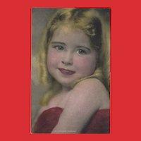Gartner Bender Hand Colored Postcard of Young Girl