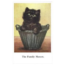 Vintage Postcard of Kitten in Wicker Basket by Beckles
