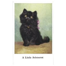 E.L. Beckles British Vintage Postcard of Kitten with Pink Bow