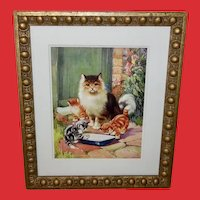 Vintage Framed Print of Mother Cat with Three Kittens
