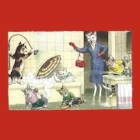 Alfred Mainzer Dressed Cat Postcard - Bathtub Fun