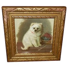 Miniature Vintage Print of White Dog with Yarn