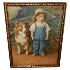 Hintermeister Vintage Tintogravure of Pals - Barefoot Boy With Collie Dog