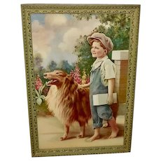 Vintage Print of Boy Walking With His Collie Dog