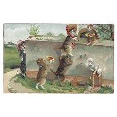 Boulanger Vintage Postcard of Cats Picking Cherries