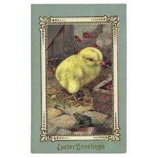 Easter Greetings German Postcard with chick and Frog