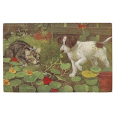 Raphael Tuck 1932 Oilette Postcard of Dog and Cat with Bug by Cobb