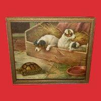 Edgar Hunt Small Vintage Print of Three Puppies Watching Turtle
