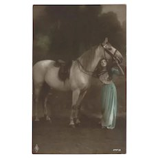 German Tinted Photo Postcard of Woman with White Horse