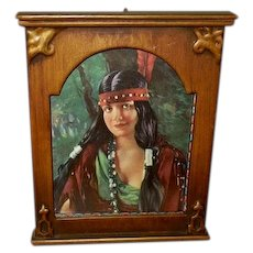 Miniature Homer Nelson Indian Maiden in Embellished Frame