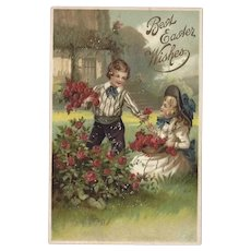 Embossed Best Easter Wishes Postcard
