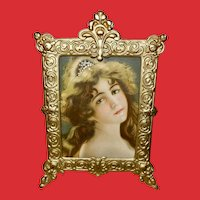 Chromolithograph of Lovely Lady in Metal Standing Frame