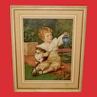 Louise Cox Vintage Print of Child and Kitten