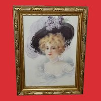 Small Vintage Print of Pretty Blonde Lady in Large Hat