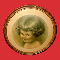 Bessie Pease Gutmann Vintage Print of Mischief in Barbola Frame