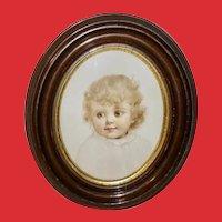 Ida Waugh Vintage Textured Print of Blonde Girl