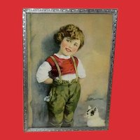 Vintage Calendar Print of a Young Child with Cat