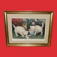 Currier & Ives Vintage Print of White Kittens Into Mischief