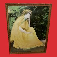 Vintage Print of Lady in Yellow Dress