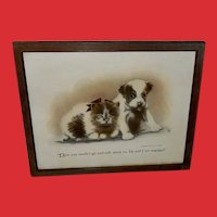Colby Vintage Print of Dog and Cat Engaged