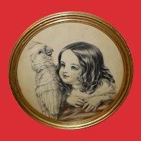 Louisa Corbaux Vintage Print of Girl with Bird