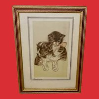 Vintage Print of Dog and Cat Titled Buddies
