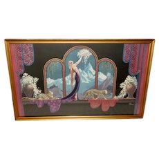 Frederick Packer Art Deco Style Print of Lady and Wild Cats