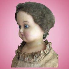 Wax over papier mache' German doll 1870 ca. Original dress