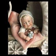 Large unusual all bisque figurine baby in pram Karl Schneider factory