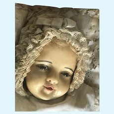 All original wax baby Mary in her original glass bowl 1900 ca.