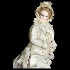 Beautiful French fashion bride doll by Jumeau with bisque arms
