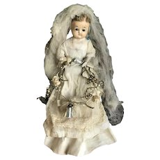 original French or English wax over papier mache' doll