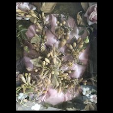 Victorian unusual souvenir de mariage pink cushion wax flowers