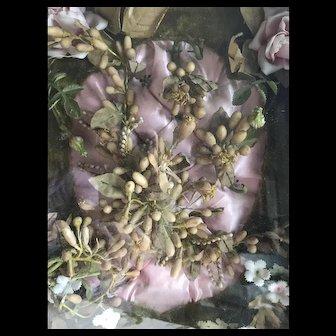 Victorian unusual souvenir de mariage pink cushion wax flowers