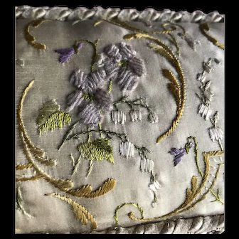 Beautiful antique silk recovered box with embroidered violets