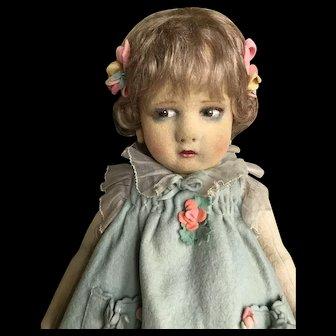 Lenci 300 girl with felt flowered dress