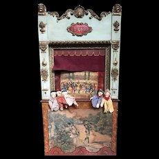 Magnificent large French Guignol with five marionettes