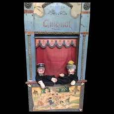 Beautiful little French Guignol with marionettes
