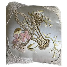 Little light blue embroidered silk pillow