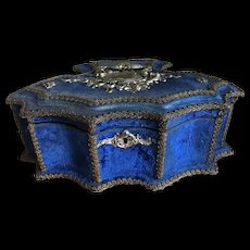 Beautiful Prussian blue velvet box