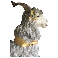 Amazing late 1800s toy Goat with beautiful long hair
