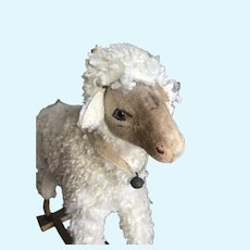 Very nice antique little sheep on wheels