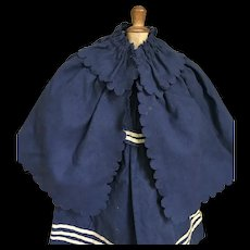 Antique woolen French mariner dress and cape