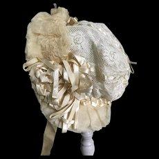 Beautiful silk baby or doll Bonnet
