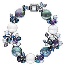 Akoya and Freshwater Pearls, Amethyst Bracelet Sterling Silver