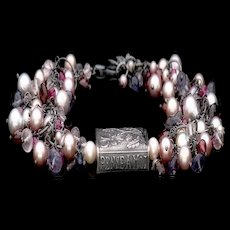 Anne Choi, Cultured Freshwater Pearls, Amethyst, Garnet, Iolite, Ruby and Quartz Bracelet