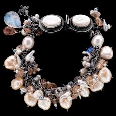 Keshi, South Sea, Freshwater Pearls, Moonstone, Oregon Sunstone Bracelet