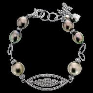 Diamond and Tahitian Pearl Sterling Silver Bracelet