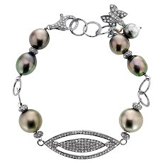 Diamond and Tahitian Pearl Sterling Silver Bracelet