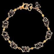 Over 14ct Natural Black Diamond 14K & 18k Solid Gold One Of A Kind Bracelet